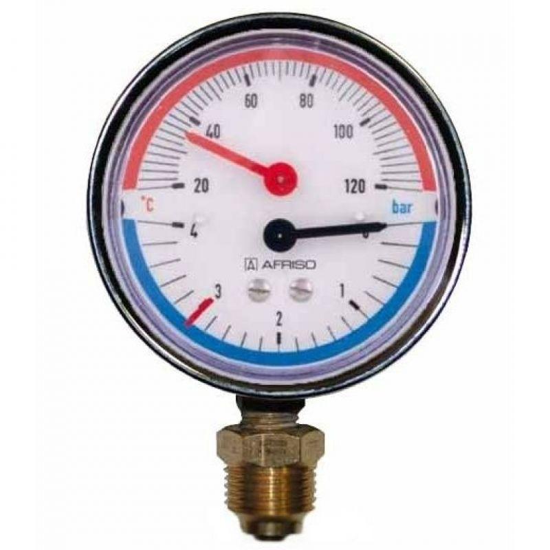 """Термоманометр AFRISO тип ТМ 80 RAD I 0-10 бар I 1/2"""" I 20-120°С"""
