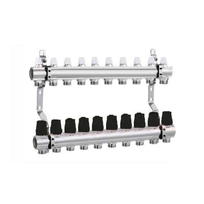 Коллектор для отопления DJOUL 1х3/4 на 10 контура без расходомеров