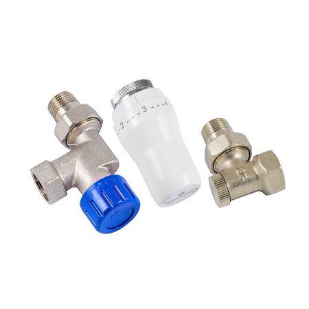 Комплект термостатический аксиальный угловой Schlosser GZ1\2xGW1/2 с термоголовкой